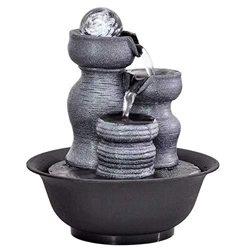 AZYQ Fontaine d'eau de table Zen, résine de simulation intérieure créative rocaille cascade Statue Feng Shui fontaine d'eau maison jardin déco, E #,B#
