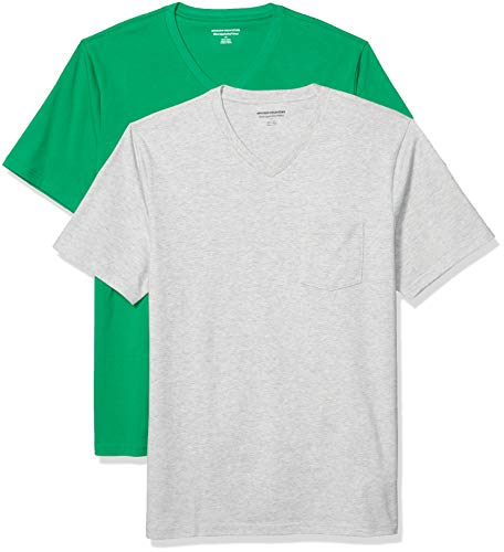Amazon Essentials 2-Pack Slim-Fit V-Neck Pocket Fashion-t-Shirts, Hellgrün/Hellgrau, US (EU XS)