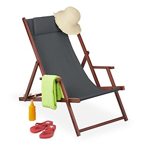 Relaxdays Liegestuhl klappbar, Holz & Stoff, 3 Liegepositionen, mit Armlehnen & Kissen, 120 kg, Strandstuhl, anthrazit