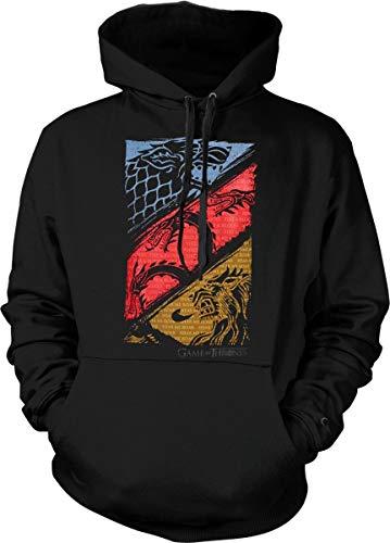 Game of Thrones Hoodie Three Houses Official Logo Sweatshirt Black