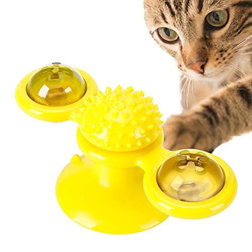 PETTOM Giocattolo per Gatto Gattino Interattivo, Giradischi Stuzzicare Giocattolo per Animali Domestici Solletico Gatti Spazzola per Capelli Divertente Giocattolo per morso di Gatto Giochi per Gatti