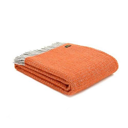 Tweedmill Textiles Decke aus 100 % reiner Wolle, Illusions-Design in Kürbisorange und Silbergrau, hergestellt in Großbritannien, warmer und weicher Naturwolle.
