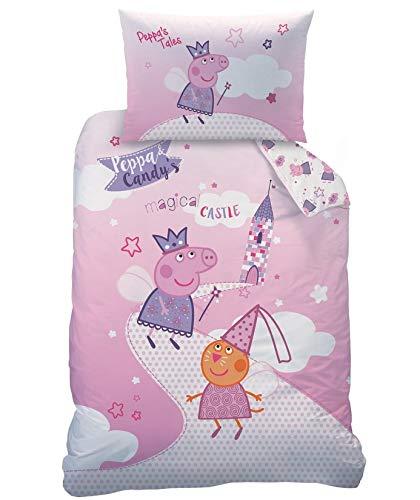 Familando Peppa Pig - Juego de cama para bebé (100 x 135 cm, 40 x 60 cm, 100% algodón, 100% algodón)