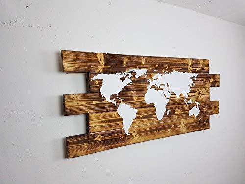 """Wandregal """"Worldmap"""" Weltkarte aus Paletten Palettenmöbel Rustikel Handgefertigt Optional LED Beleuchtung"""