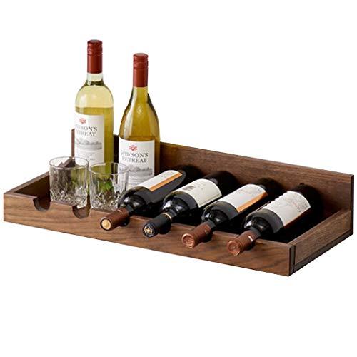 Estante de vino para colgar en la pared material de roble forma simple puede colgar tazas en el hogar sala de estar comedor decoración de la pared del hogar estante para vinos color nogal 60X2