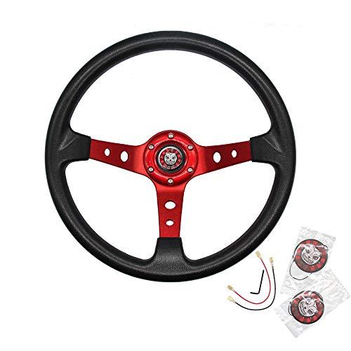 "JQSKUNP Universal Deep Dish Racing Steering Wheel 13.8""/350mm 6 Bolts Grip Vinyl Leather With Horn..."