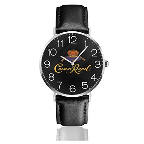 Men's Fashion Minimalist Wrist Watch Quartz Wrist Watch Crown Royal Leather Strap Watch