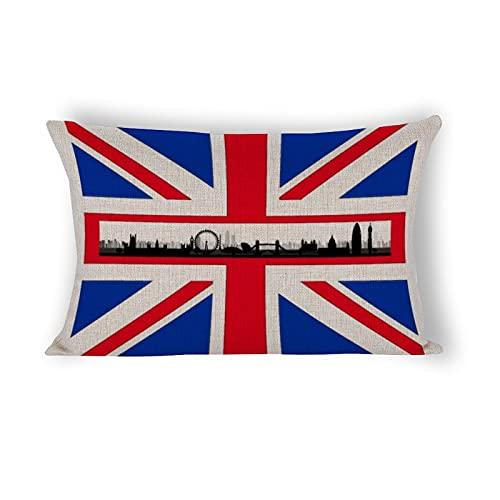 Funda de almohada de 50,8 x 76,2 cm, diseño de bandera de Londres, Inglaterra, Reino Unido, bandera de Reino Unido, de lino y algodón, para sofá cama, decoración del hogar
