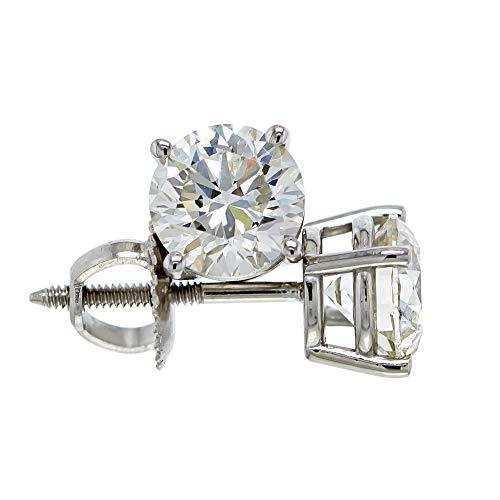 IGI Certified 2.00 Carat Lab-Grown Diamond Stud Earrings 14kt White Gold (I-J Color VS2-SI1 Clarity)