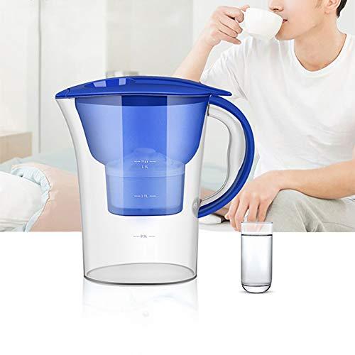 Ménage À Eau Au Charbon Actif Purificateur Filtration Pichet Filtre Pot À Cartouches Bouteille Cuisine + Élément Filtrant Blanc,Blue