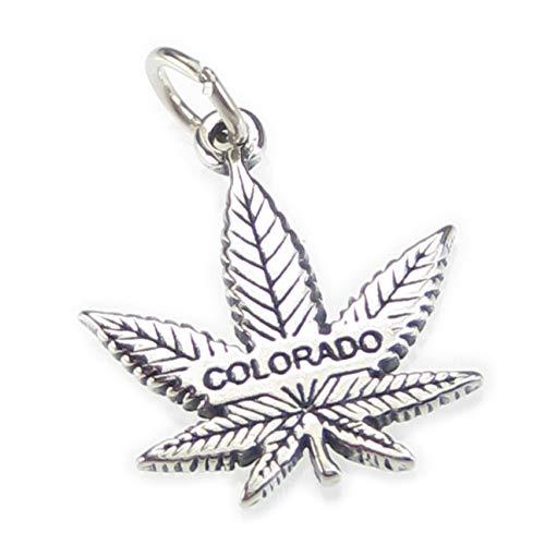 Colorado pendientes de hoja de marihuana de plata colgante Charm .925x 1hojas cf5820