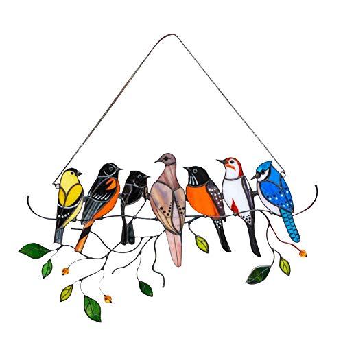 ISAKEN Panel de Ventana de vidriera de Variedad de pájaros de Primavera, para decoración del hogar, Regalo para Amantes de pájaros, decoración de la Ventana con Colgante de Primavera, decoración