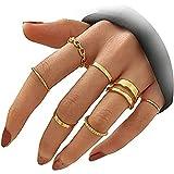 Juego de anillos de tobillo para mujeres, adolescentes, niñas, cadena de serpiente, anillo apilable, vintage, midi, tamaños mezclados, Boho, anillos apilables ajustables para mujeres
