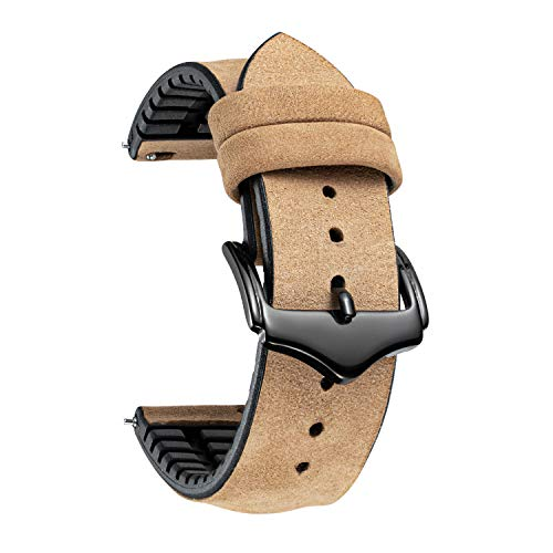 Correa de Reloj de Repuesto BINLUN Bandas de Reloj híbridas de Silicona de Cuero Flexible a Prueba de Agua para Unisex en 10 Colores y 3 tamaños (18/20/22mm) con Hebilla y Herramienta de Ajuste