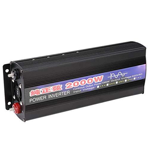 Inversor de voltaje de 2000 W, silencioso, sin interferencias, estable, de alta eficiencia (DC 12 V a AC220 V)