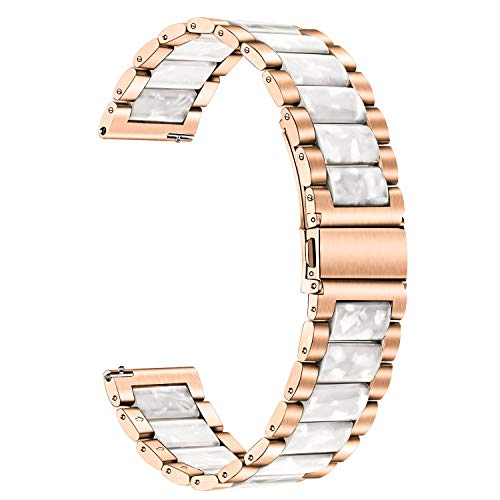 TRUMiRR Kompatibel mit Galaxy Watch3 41mm/Galaxy Watch Active2/Galaxy Watch Active/Galaxy Watch 42mm Armband, 20mm Edelstahl & Harz Uhrenarmband Ersatzband für Samsung Galaxy Watch Active2
