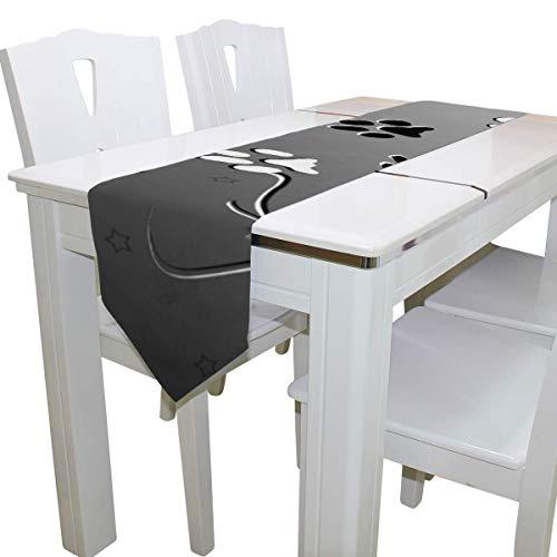 N/A eettafel loper of dressoir sjaal, poten zwart wit dek tafelkleed loper koffie mat voor bruiloft partij banket decoratie 13 x 90 inch