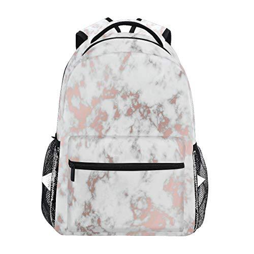 Linomo Rose Gold Weißer Marmor Rucksack Daypacks Schultertasche Büchertasche Laptop Reisen Schulrucksack für Damen Herren Kinder Mädchen Jungen Teenager