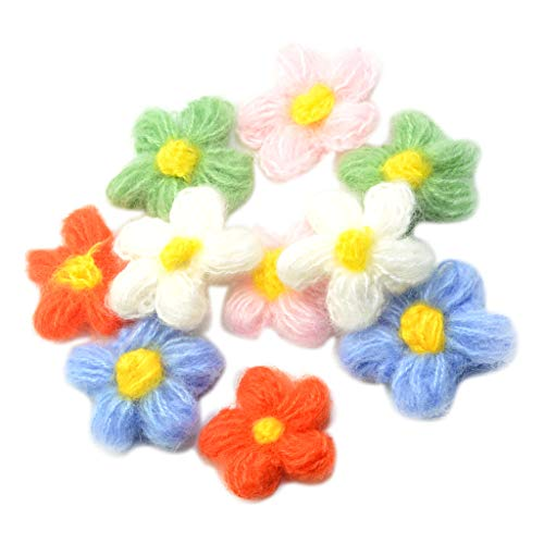 Baoblaze 10pcs Flores Ganchillo para Coser Flores Hilados de Lana Aplique de Ganchillo Manualidades de Costura