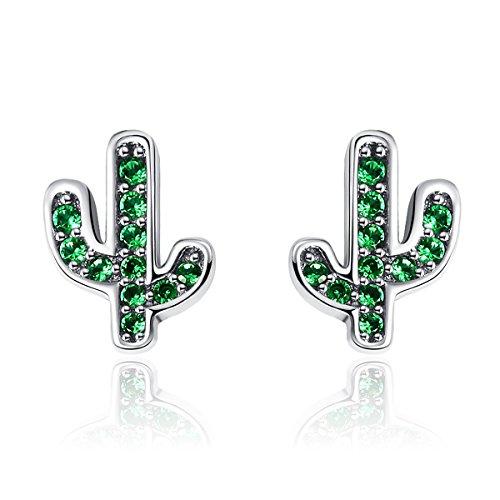 NEWL Pendientes de tuerca de plata de ley 925 con cristal de cactus verde deslumbrante para mujer, joyería de plata auténtica