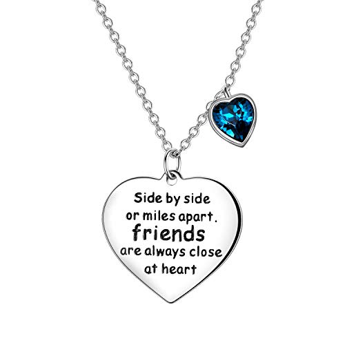 Sterling Silver Friendship Necklace, Friends are always Close at Heart,...