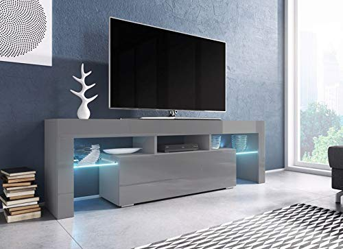 Jadella Tv-meubel 'Soro' hoogglans lowboard Cube mat HiFi televisiekast met LED grijs mat/grijs hoogglans.