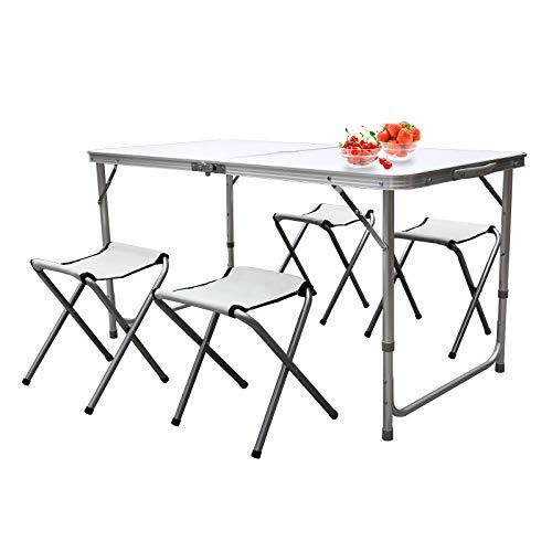 wolketon Alu Campingtisch,4 Klapphocker,3 verstellbare Höhen Picknicktisch, mit Nylon Tragegriff und Regenschirmloch, bis zu 30 kg,für 4 Personen Camping,Weiß