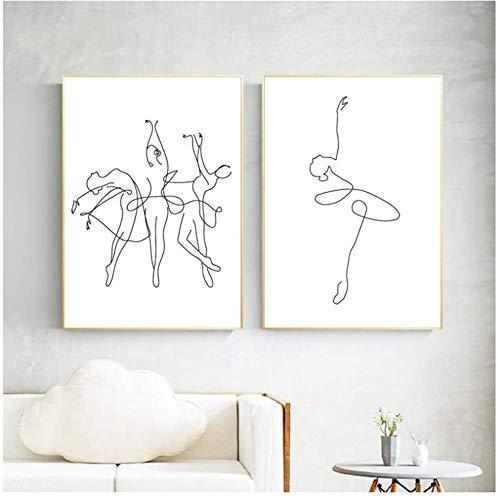 A&D Abstracte Ballerina Print One Line lichaam tekening kunst canvas schilderen zwart wit kunstwerk afbeelding dance poster meisje kamer muur decor 50x70cmx2pcs-No Frame