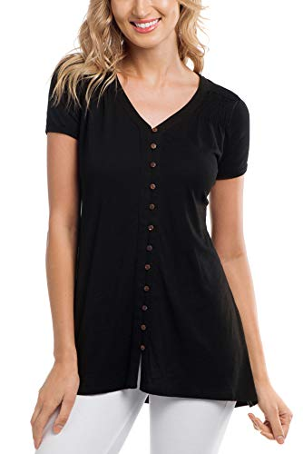 Cupio Blush Womens Slub Knit Rolled Short Sleeve Button Down Knit Tunic Black