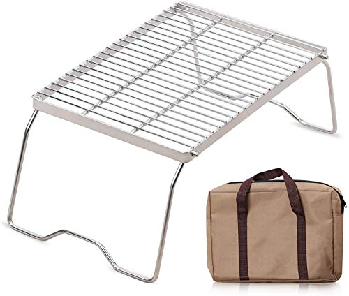 XTSKLY Folding Campfire Grill, Heavy Duty 304 Stainless Steel Grate, Portable Camping Grill with Legs and Carrying Bag, Large