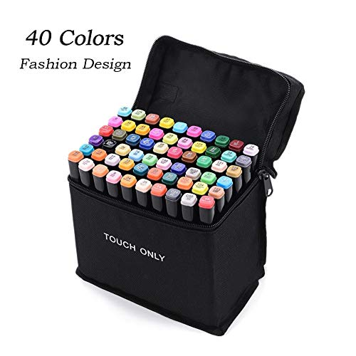 40 kleuren Super Markers Primaire & Secundaire Tones Dual Tip Set, Dubbeleindig Art Marker Animatie Blender Pen Highlighters met Draagtas voor Tekenen, Highlighting&Underlining Clothing Design, 40 Colors