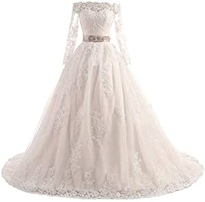 DINGZAN Gorgeous Off Shoulder Lace Bridal Dresses Long Sleeve Wedding Reception Dress Ball Gown