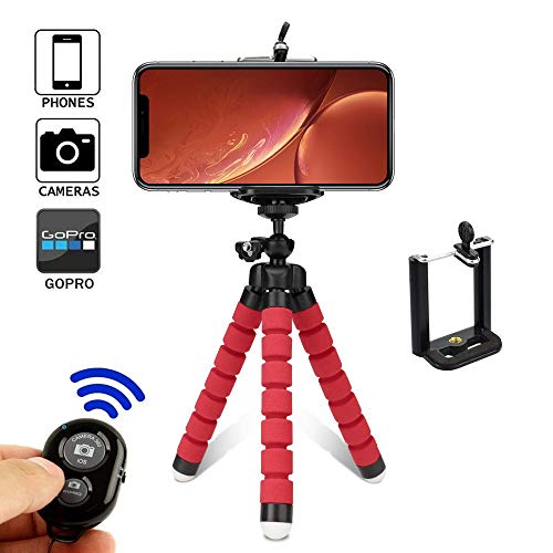 Mini Trípode Trípode De Pulpo Soporte para Teléfono Móvil Soporte para Teléfono Portátil Soporte Universal Esponja (Color : Red)