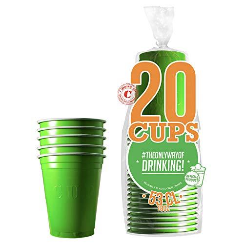 Pack de x20 Original Green Cups Officiels | Gobelets Américains 53cl Verts | Beer Pong Qualité Premium | Gobelets en Plastique Réutilisables | Lavables Main ou Lave-Vaisselle | OriginalCup®