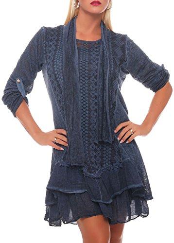 Malito Damen Strickkleid mit Schal | Maxikleid mit Spitze | schickes Freizeitkleid | Pullover - Kostüm 6283 (dunkelblau)