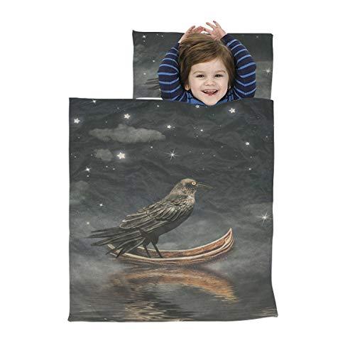 Leichter Schlafsack für Kinder Schwarzer Rabe in einem Boot am Fluss Magischer Nachtschlafsack für Kinder Weiche Mikrofaser Leichte weiche Nickerchenmatte für Mädchen Perfekt für Vorschule, Kindertag