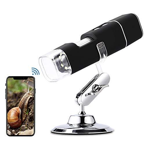 Microscopio Digital WiFi HD 2MP, 1000x Microscopio Inalámbrico 1080P HD con Zoom, Recargable, 8 LED, USB 2.0, Soporte de Metal, Microscopio Endoscopio Camara para iPhone iOS Android iPad Windows Mac