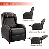 Homall Massage Gaming Recliner Chair Racing Style Single Living Room Sofa Recliner PU Leather Recliner Seat Home Theater Seating (Red)