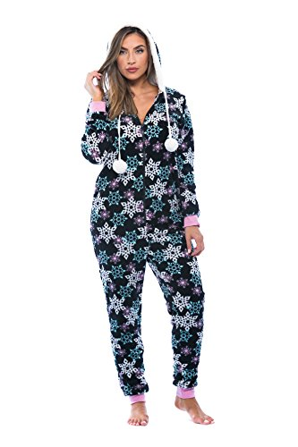 Just Love Adult Onesie / Pajamas Black - Snowflake Medium