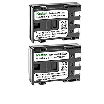 Kastar Battery  2-Pack  for Canon NB-2L NB-2LH NB-2L12 NB-2L14 NB-2L24 and PowerShot G7 G9 S30 S40 S45 S50 S60 S70 S80 DC410 DC420 VIXIA HF R10 HF R100 HF R11 EOS 350D 400D Digital Rebel XT Xti