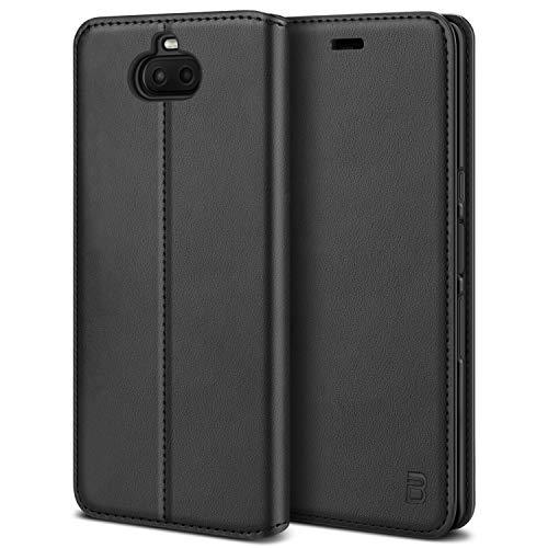 BEZ Handyhülle für Xperia 10 Plus Hülle, Premium Tasche Kompatibel für Sony Xperia 10 Plus, Tasche Hülle Schutzhüllen aus Klappetui mit Kreditkartenhaltern, Ständer, Magnetverschluss, Schwarz
