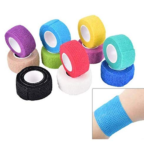 DNHCLL 5 Rolls Self-Adhesive Cohesive Wrap Bandage Tape Flexible Stretch Athletic Strong Elastic First Aid Tape for Sports, Wrist, Ankle Sprains, 5 Yards Each (Color Random)