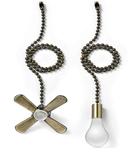 AIIGOU Ceiling Fan Pull Chain Set - 13.6 Inches Fan Pull with Ball Chain Connector Included Light & fan Pulls