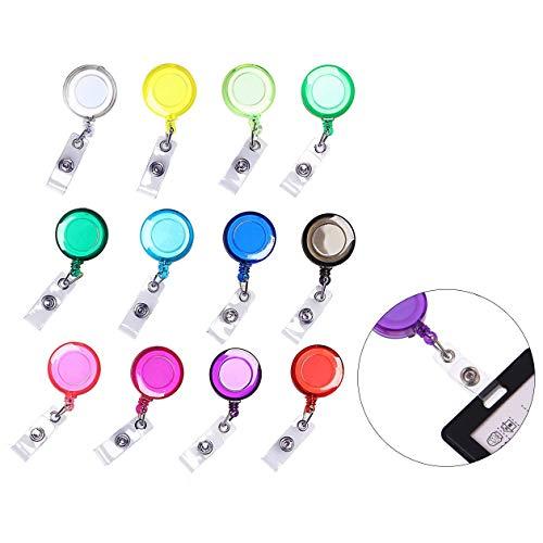 iwobi 12 Stks Doorschijnende Badge Houder Sleutelrollen, Intrekbare Badge Reels met Clip voor ID Card Knopen Riem Loop Gesp Sleutelring Verschillende Kleuren