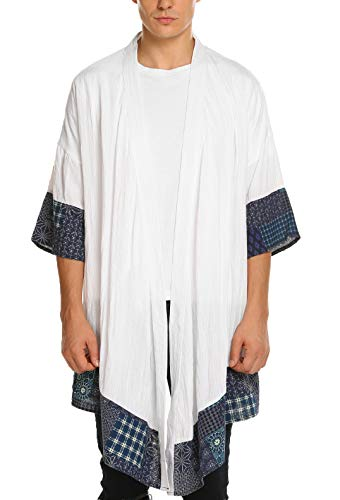 COOFANDY Mens Cardigan Lightweight Cotton Sweater Kimono Style Cloak Open Front Cape,White,Small