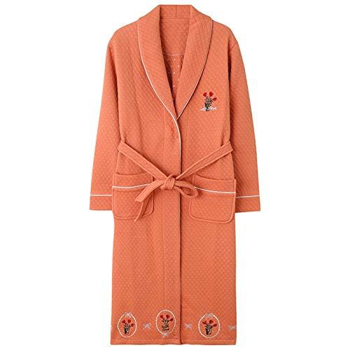 FHISD Camisón Popular para Mujer, Albornoz cómodo y Transpirable, Solapa de Manga Larga, Pijamas cálidos de algodón Laminado de Invierno para Mujer, Regalos de invier