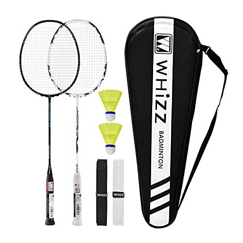 Whizz Innovatives Design Carbon Graphit Badminton Schläger 2 STK, Ultraleicht 3U Profi Badmintonschläger Set, 2 Federbälle, 2 Griffbände & 1 Schlägertasche(Y5Y6 Schwarz+Weiß Neu)