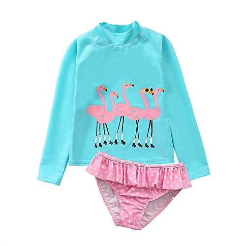 HZYBABY Baby Little Girls Rash Guard 2-Piece Swimsuit Set -Toddler Long Sleeve Bikini with UPF 50+ Sun Protection Blue Flamingo 6T / 7T