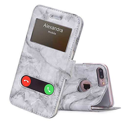 FYY iPhone 8 Plus Hülle,iPhone 7 Plus Hülle, Premium PU Lederhülle Flip Leder Cover Case Tasche Handytasche Shell für iPhone 8 Plus/iPhone 7 Plus, Marmor Schwarz
