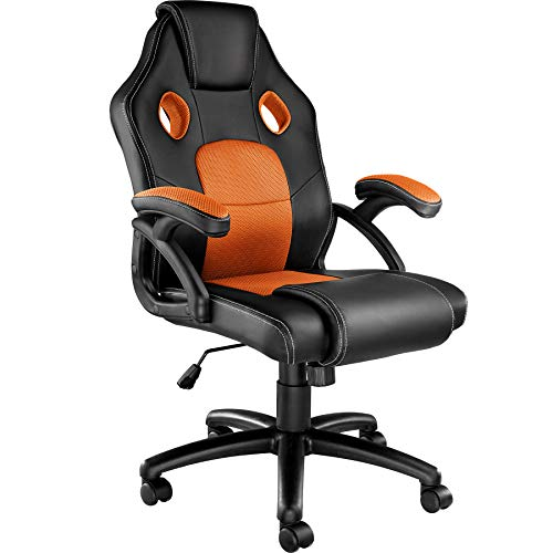 TecTake 800770 Racing Bürostuhl, Gaming Stuhl mit Wippmechanik, Kunstleder Chefsessel Drehstuhl, höhenverstellbarer Schreibtischstuhl, ergonomisch - Diverse Farben - (Schwarz-Orange | Nr. 403456)